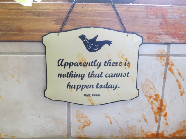 This is the sign hanging above my kitchen sink. Appropriate.